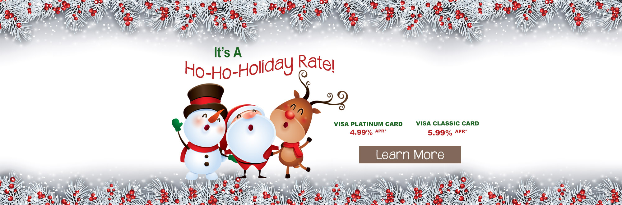 VISA Holiday Rate Banner